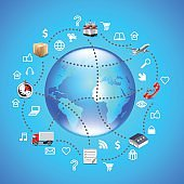 Earth globe and logistics icons around it on blue background