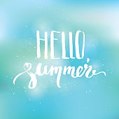 Hello summer hand lettering on blurred sunny background