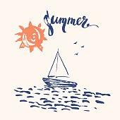 Hand drawn summer design with sun, ocean and boat