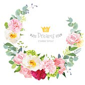 Floral vector design round frame. Rose, peony, hydrangea, camellia, carnation