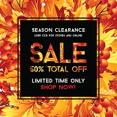 Autumn sale poster with fall leaves decoration and sale text