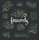Hand drawn vector colorful fireworks on dark background