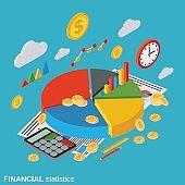 Business portfolio, financial statistics, market statistics, management vector concept
