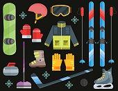 Winter sports equipment set: ski, curling, skates,  helmet