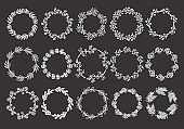 Set of hand drawn white wreaths