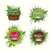 Set of labels for organic products.