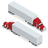 Isometric American Show truck tractor. Transporting large loads over long