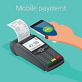 Isometric Pos terminal confirms the payment by smartphone. Vector illustration