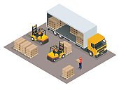 Isometric Logistics concept. Loading cargo in the truck