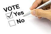 Man Voting yes check-box