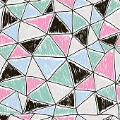 Abstract seamless doodle pattern. Retro triangles texture. Vector Illustration