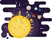 Solar system flat style