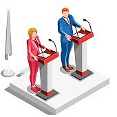 Election Infographic Politics Argue Vector Isometric People