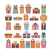 Birthday surprise. Set of different gift boxes. Colorful wrapped