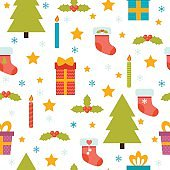 Holidays background with Christmas tree, snowflakes, stars
