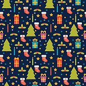 Cute seamless pattern. Holidays background with Christmas tree