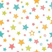 Cute seamless pattern with colorful stars. Stylish print