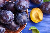 Fresh raw plums