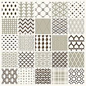 Set of vector endless geometric patterns composed with different