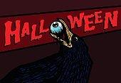 Black raven holding eyeball in beak halloween vector illustration