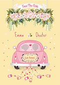 Just married car with save the date wedding invitation card