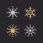 Set of snowflakes icon with yellow and white.
