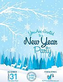 New Year Party Invitation Winter Landscape