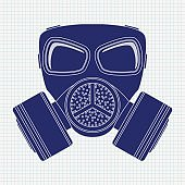 Gas mask. Blue icon on notebook sheet background