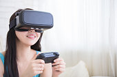 woman playing games with vr