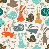 Funny animal seamless pattern made of sweet rabbits in forest