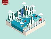 beautiful isometric style design concept of Hong Kong city