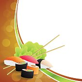 Background abstract food sushi orange yellow green frame wave vector