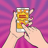 Black friday! Vector illustration with young woman's hand holding smartphone