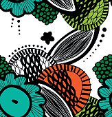 Vector seamless decorative floral pattern