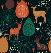 Seamless nature pattern with deers.