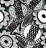 Vector messy seamless decorative floral pattern