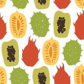 Seamless pattern with tropical exotic fruits, mango, papaya