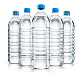 Group of plastic drink water bottles