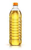 Plastic bottle of vegetable cooking oil