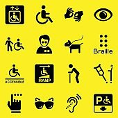 Disability Icons Yellow Background