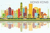 Abstract Hong Kong Skyline with Color Buildings and Blue Sky