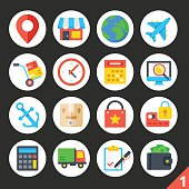 Delivery, shipping, ecommerce, logistics round flat icons set 1