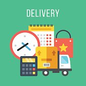 Delivery, shipping, transportation. Flat delivery icons set. Vector illustration