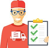 Courier and orders list. Flat vector illustration
