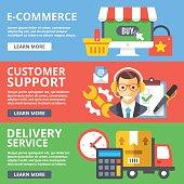 E-commerce, customer support, delivery service flat illustration set