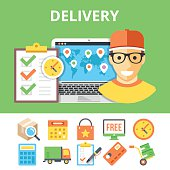 Delivery flat illustration and colorful flat delivery icons set