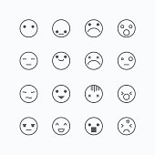 Emoji avatar collection set, emoticons isolated icons flat line