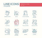 Cleaning - line design icons set