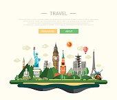 Flat design composition illustration with world famous landmarks