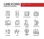 Home Appliances - simple line design icons set